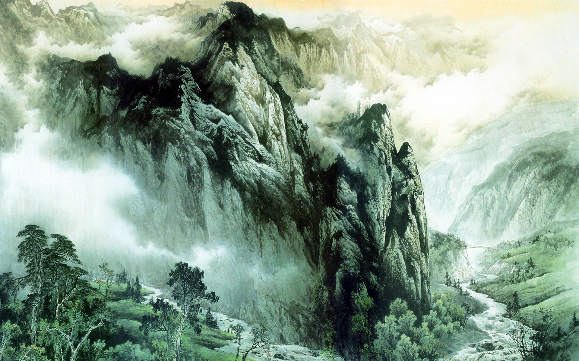 174 drawing hd wallpapers backgrounds wallpaper abyss for Chinese mural wallpaper