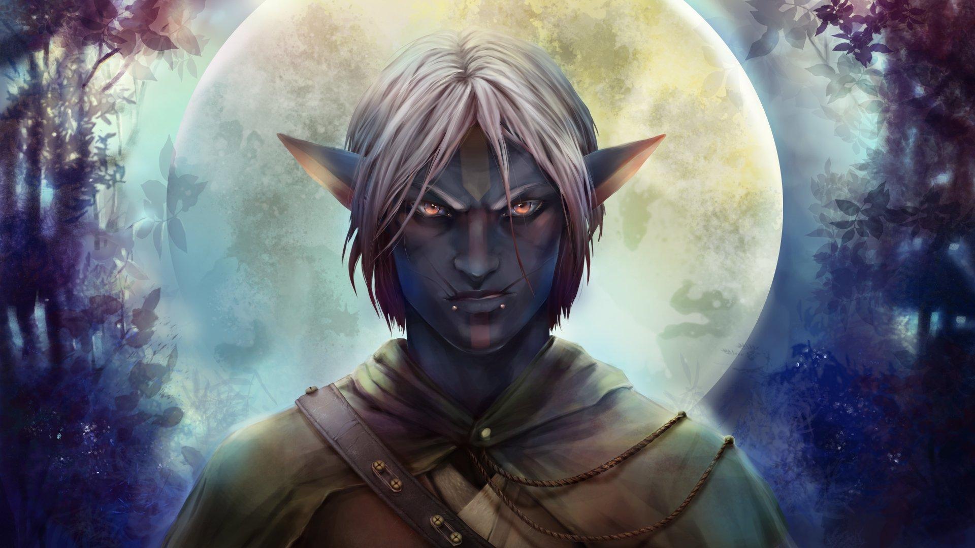 Fantasy - Elf  Moon White Hair Pointed Ears Orange Eyes Night Scar Wallpaper