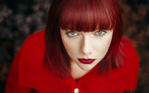Women Face Woman Model Girl Lipstick Red Hair Blue Eyes HD Wallpaper | Background Image