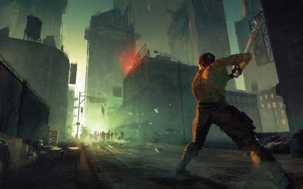 Sci Fi Post Apocalyptic Zombie Dark Building Sign HD Wallpaper | Background Image