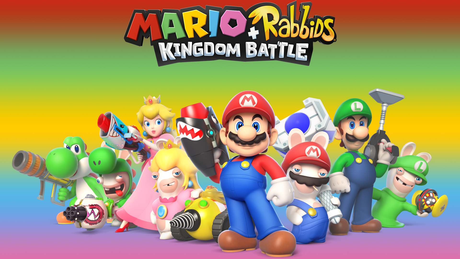 Video Game - Mario + Rabbids Kingdom Battle  Mario Luigi Princess Peach Yoshi Raving Rabbids Wallpaper