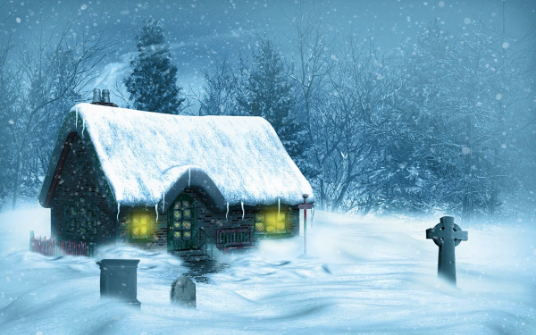 Artistic House Cottage Winter Snow Celtic Cross Tree Snowfall HD Wallpaper | Background Image
