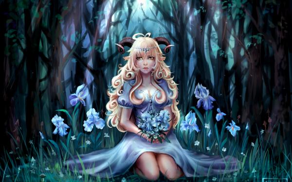 Fantasy Demon Horns Forest Iris Flower Long Hair Yellow Eyes Blonde HD Wallpaper   Background Image