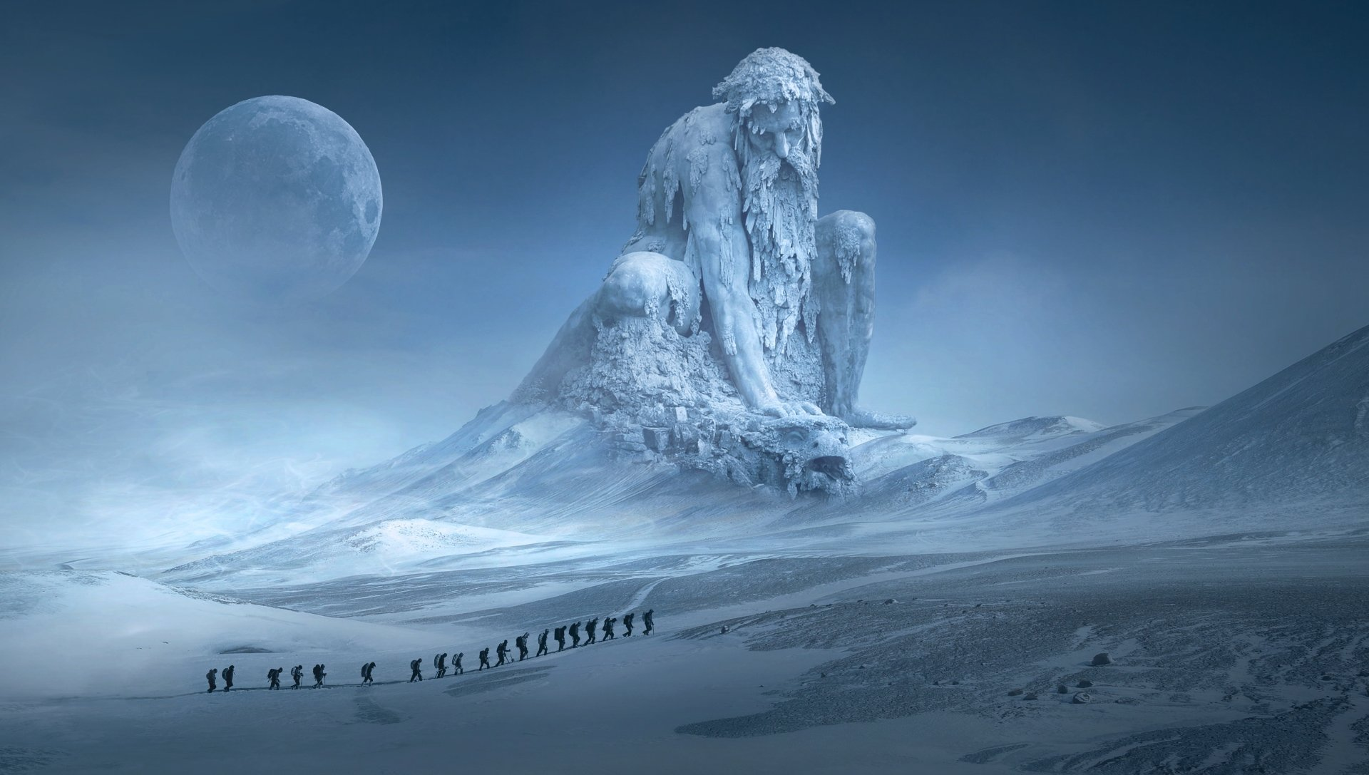 Fantasy - Landscape  Adventure Hiking Winter Statue Moon Mountain People Snow Photoshop Wallpaper