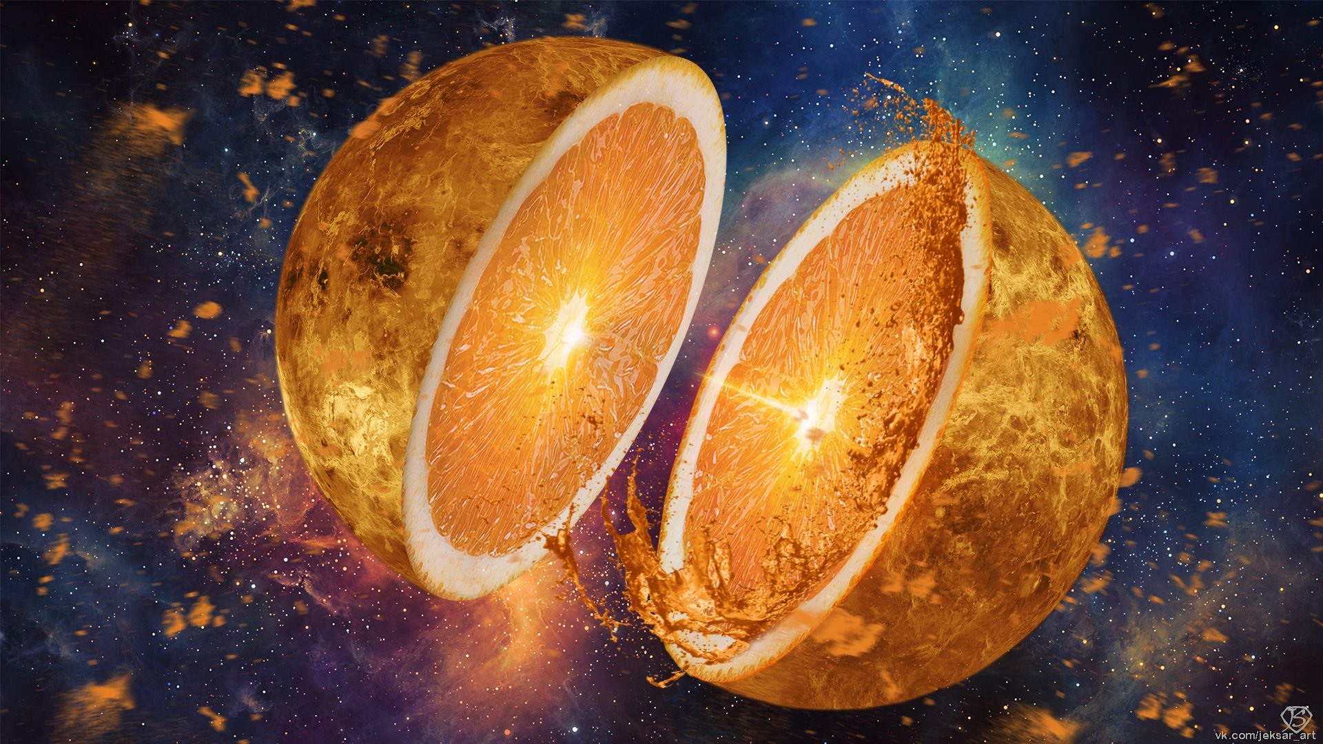 Sci Fi - Artistic  orange (Fruit) Planet Fruit Space Surreal Wallpaper
