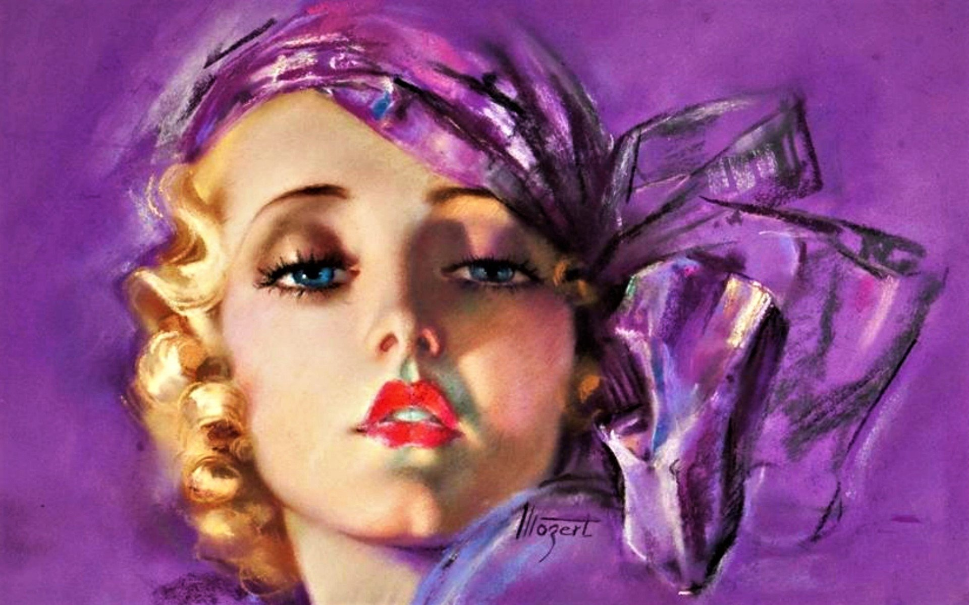 Artistique - Peinture  Lipstick Artistique Woman Fille Rétro Vintage Style Fond d'écran