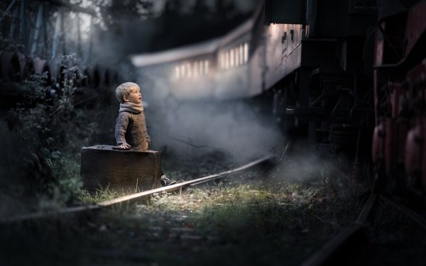 Photography Child Night Little Boy Suitcase Train HD Wallpaper | Background Image