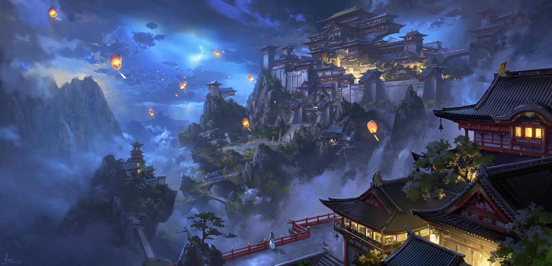 Anime - Original  Night Mountain Building Latern Landscape Wallpaper