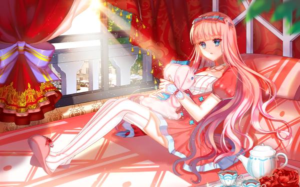 Anime Original Long Hair Red Hair Teapot Tea Cup Blue Eyes Sunbeam Window Stuffed Animal bow HD Wallpaper | Background Image