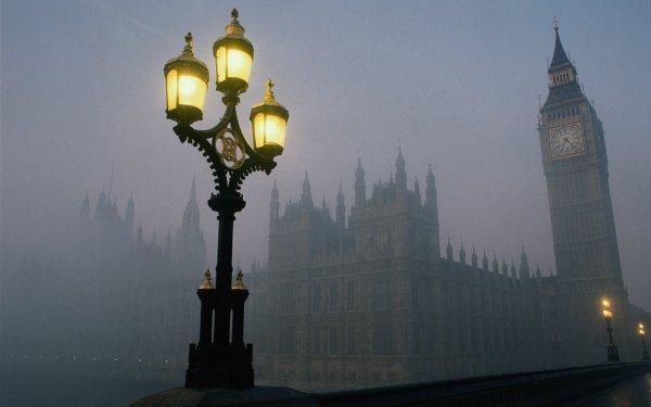Hecho por el hombre London Ciudades Reino Unido Noche Street Light Niebla Big Ben Fondo de pantalla HD | Fondo de Escritorio