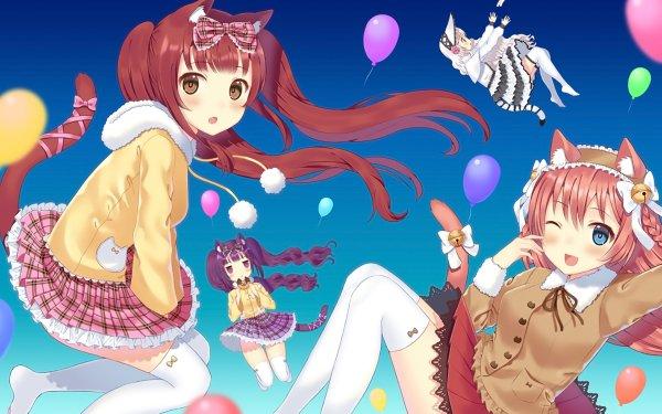 Anime Original Fille Nekomimi Thigh Highs Dress Falling Blue Eyes Ballon Fond d'écran HD | Arrière-Plan