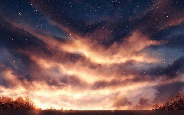 Anime Original Sky Stars Cloud Fantasy Sunset HD Wallpaper   Background Image