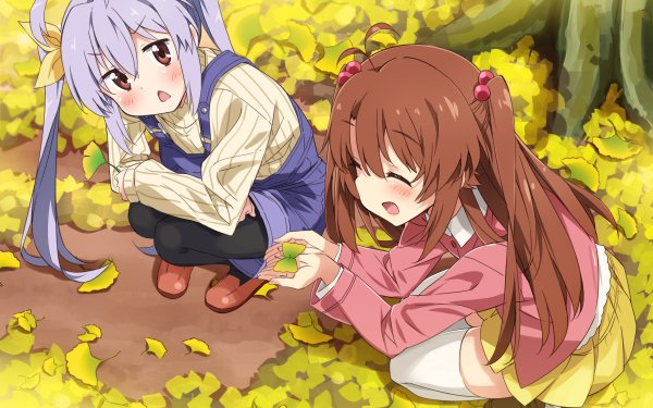 Anime Non Non Biyori Komari Koshigaya Renge Miyauchi Girl Blush Smile Long Hair Thigh Highs Skirt Pantyhose Sweater Twintails Purple Hair Brown Hair Red Eyes Leaf HD Wallpaper | Background Image