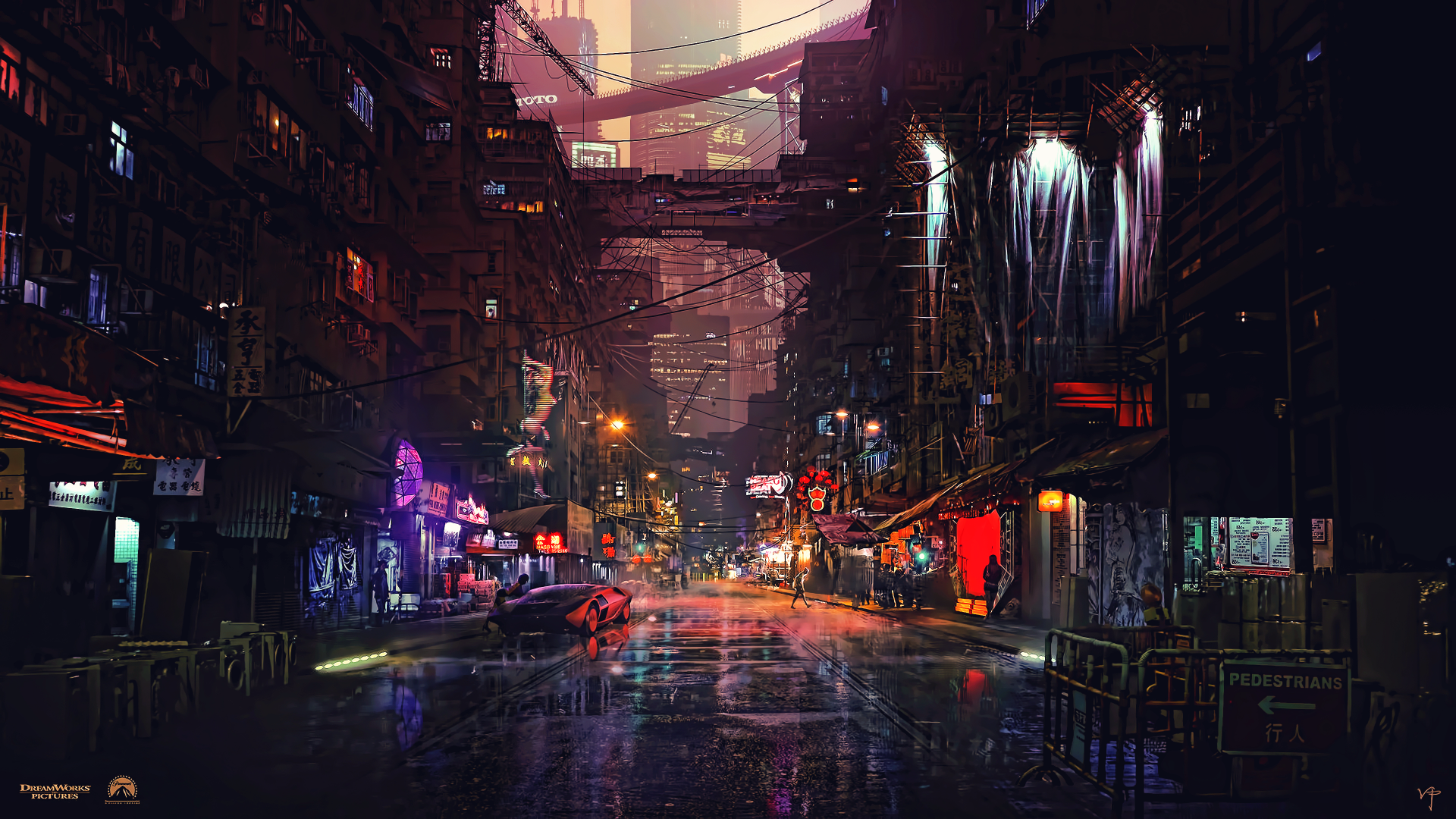 Cyberpunk Black And White City Flying Cars