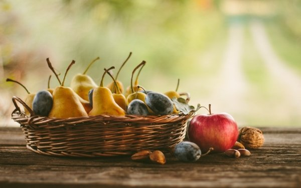 Food Fruit Fruits Apple Pear Plum HD Wallpaper | Background Image