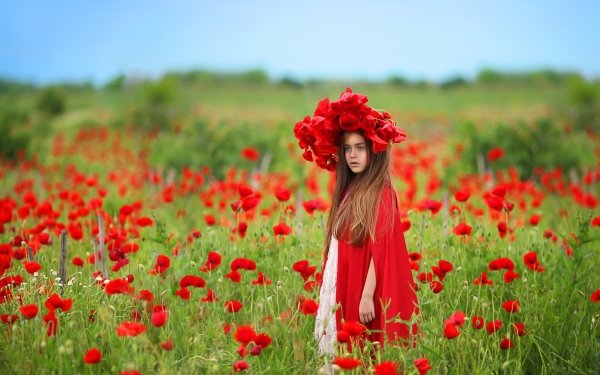 Photography Child Little Girl Depth Of Field Summer Brunette Poppy Red Flower Flower Wreath HD Wallpaper | Background Image