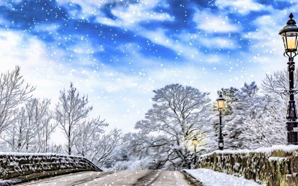 Artístico Invierno Puente Piedra Snow Snowfall Street Light Fondo de pantalla HD | Fondo de Escritorio