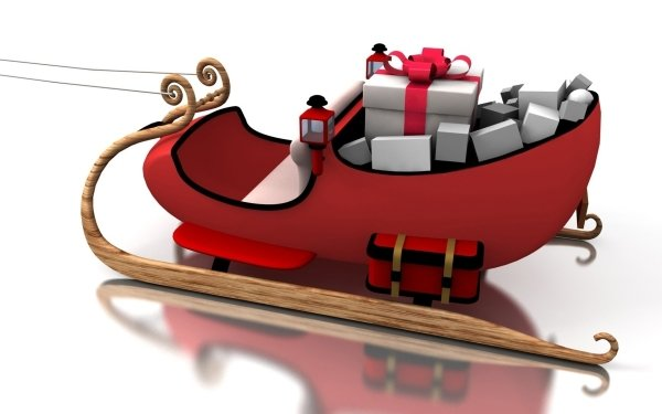 Holiday Christmas Sled White Red Gift HD Wallpaper   Background Image