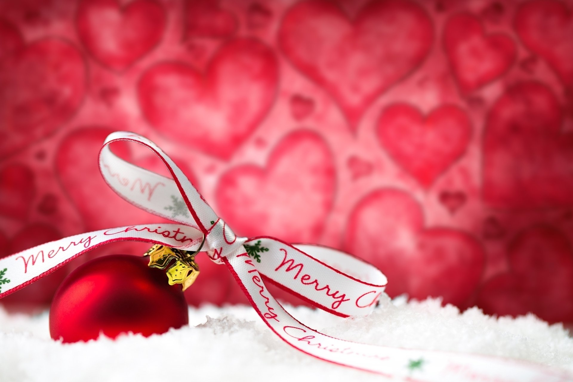 Holiday - Christmas  Red Bauble Ribbon Snow Merry Christmas Wallpaper