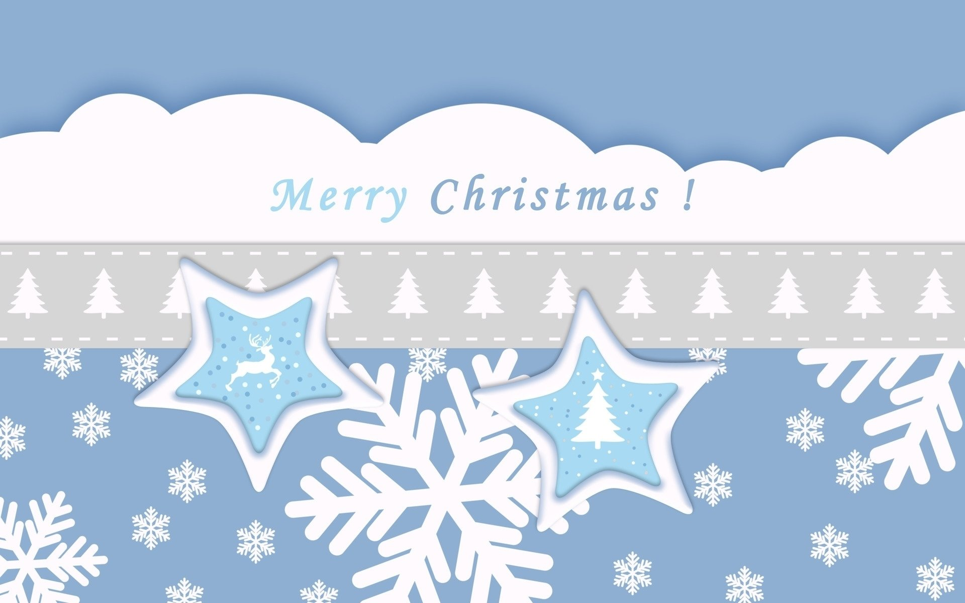 节日 - 圣诞节  蓝色 Star 雪花 Merry Christmas 壁纸