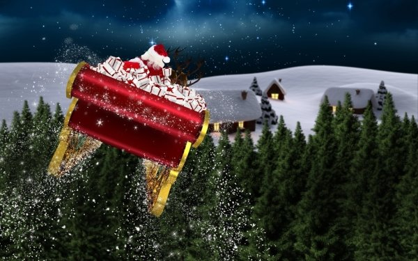 Holiday Christmas Santa Claus Sled Forest Night House Snow HD Wallpaper   Background Image