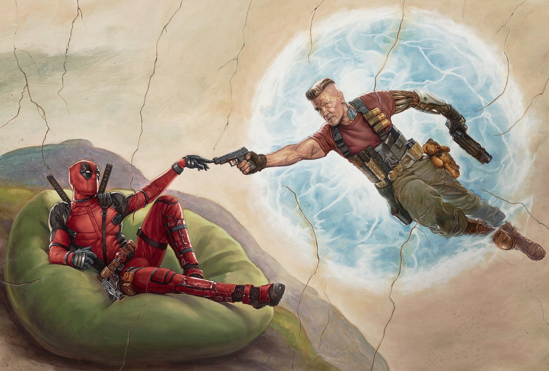 Movie - Deadpool 2  Deadpool Ryan Reynolds Josh Brolin Cable (Marvel) Renaissance Artwork Wallpaper