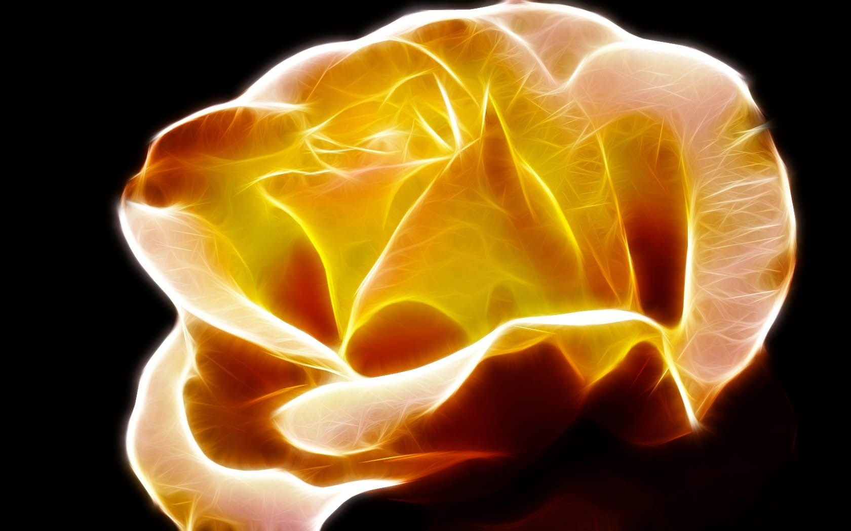 Artistic - Flower  Cute Fractal Yellow Petal Rose Orange Red Wallpaper