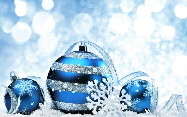 Holiday Christmas Christmas Ornaments Blue Silver Snowflake Ribbon HD Wallpaper | Background Image