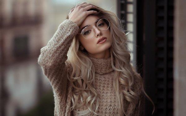 Women Model Models Woman Girl Blonde Glasses Depth Of Field HD Wallpaper | Background Image