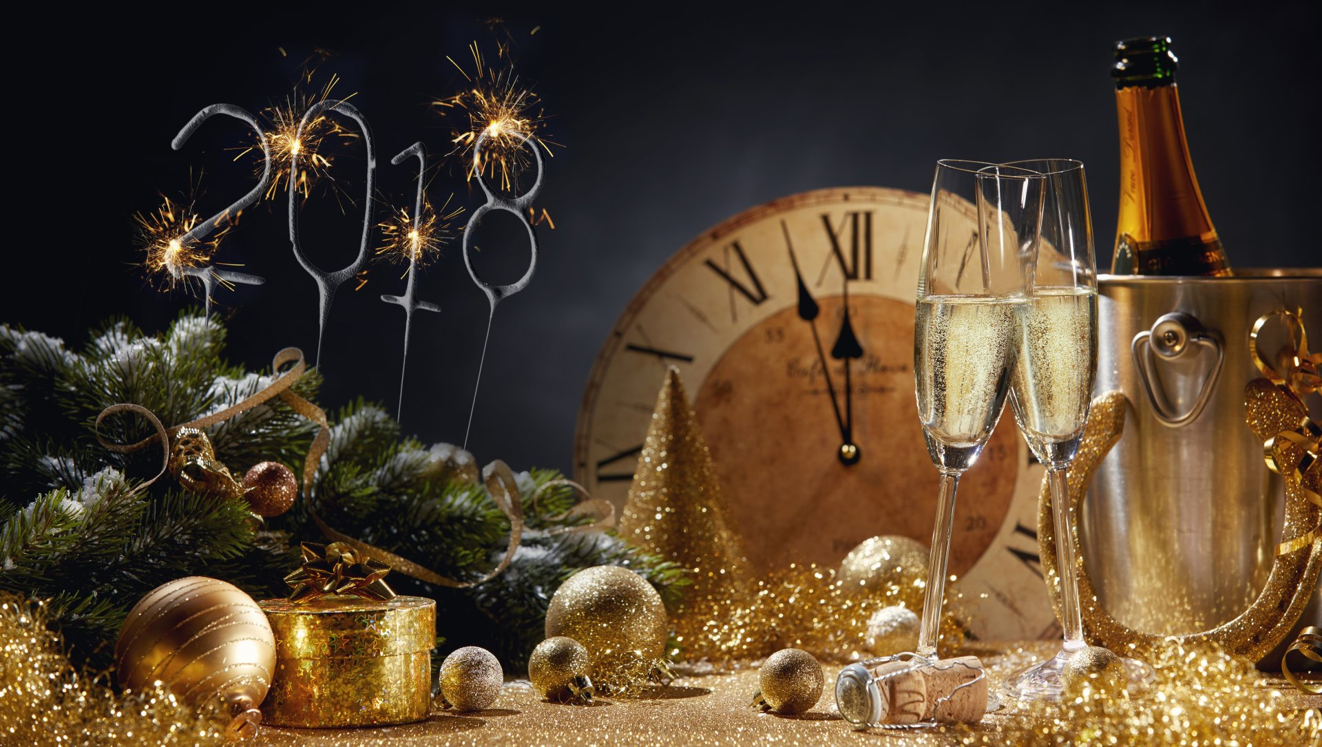 Holiday - New Year 2018  Champagne Alcohol Celebration Drink New Year Golden Wallpaper