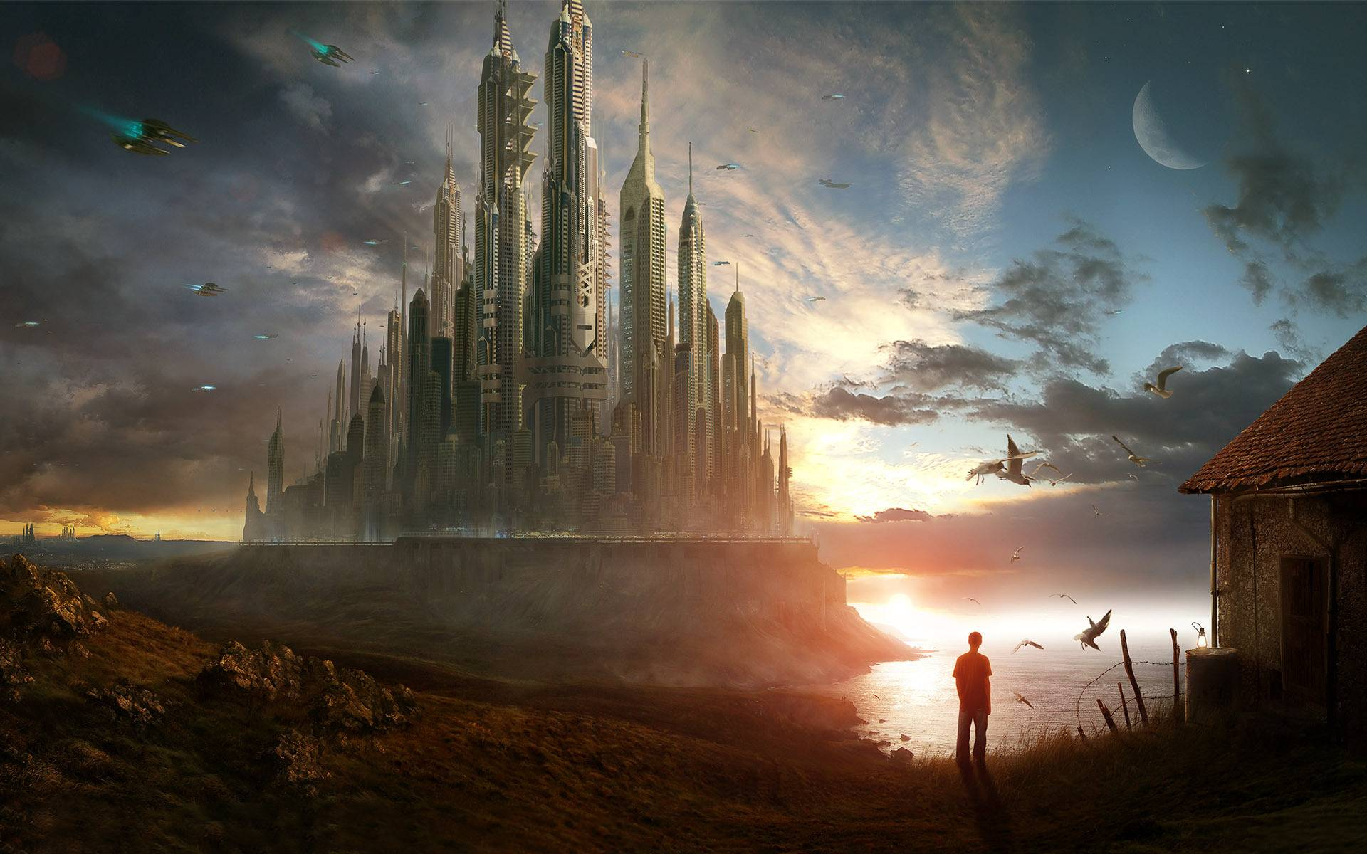 Science-Fiction - Großstadt  Landschaft Wolkenkratzer Science-Fiction Himmel Wallpaper