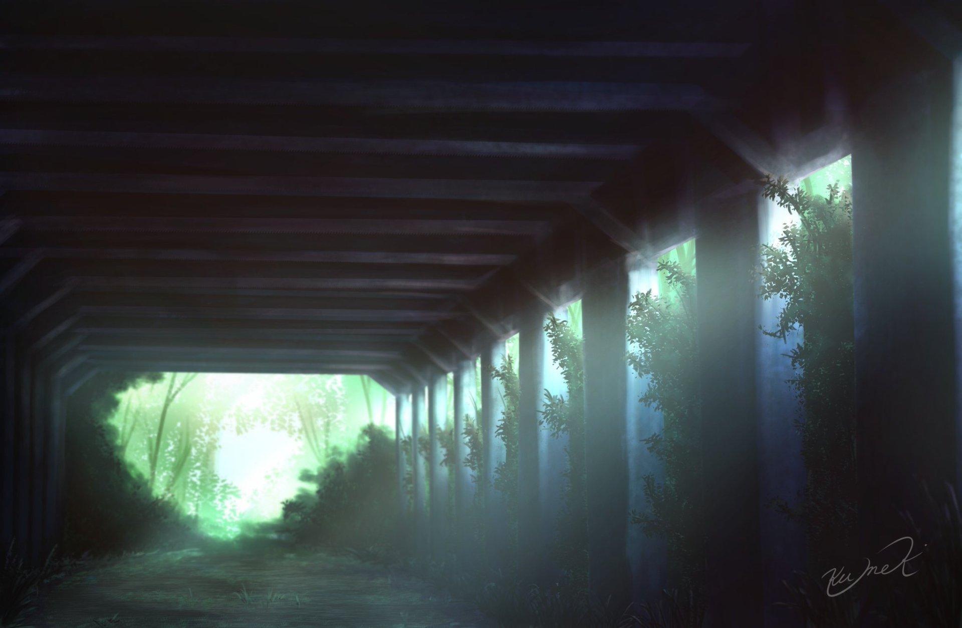 Anime - Original  Shelter Forest Tree Dirt Road Wallpaper