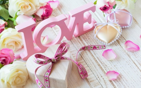 Artistic Love Word Pink Wood Rose Heart Ribbon HD Wallpaper | Background Image