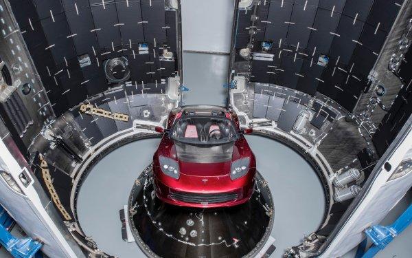 Vehicles Tesla Roadster Tesla Motors Falcon Heavy Red Car SpaceX HD Wallpaper | Background Image