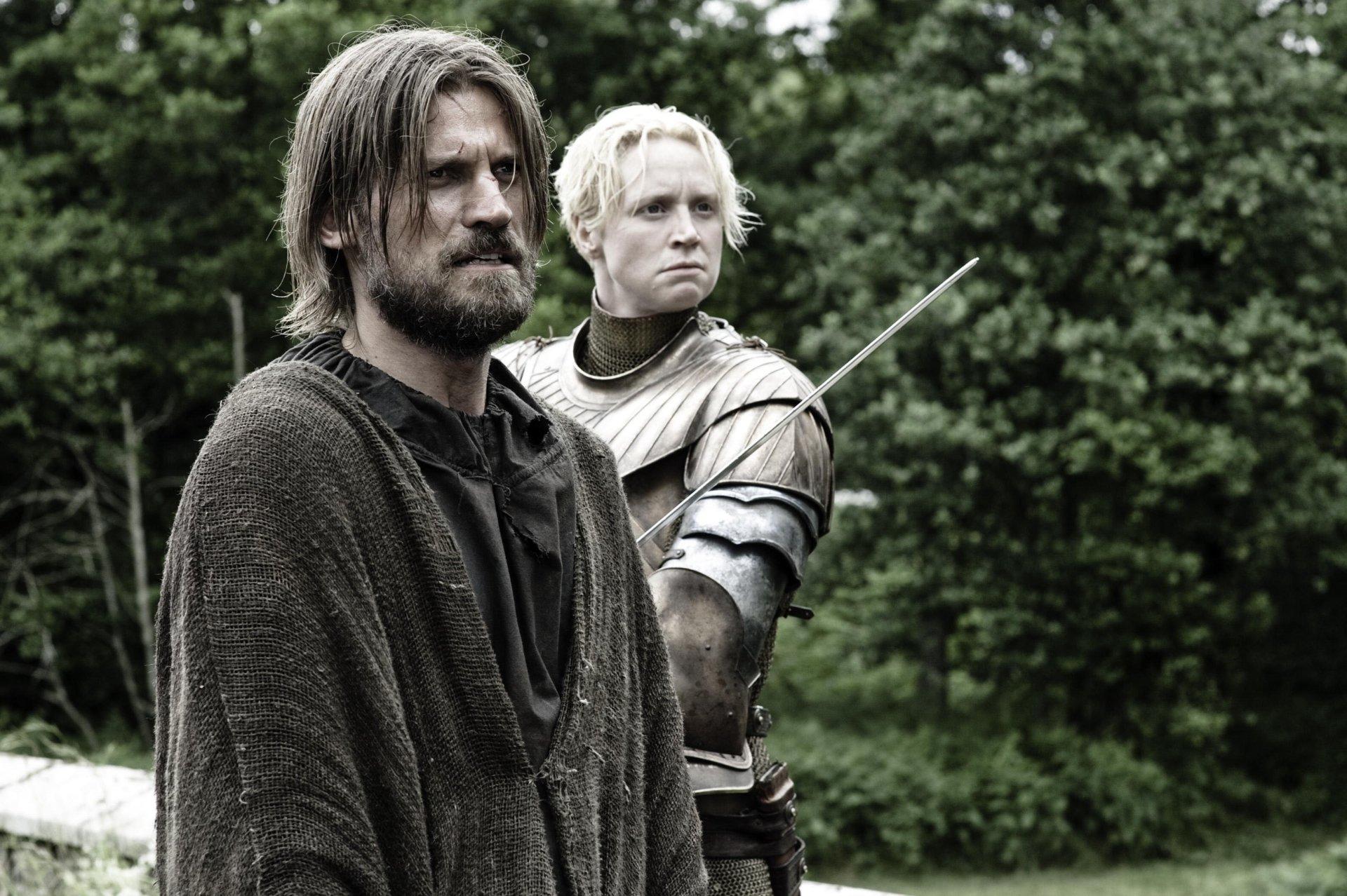 电视剧 - 权力的游戏  Jaime Lannister Brienne Of Tarth Nikolaj Coster-Waldau Gwendoline Christie 壁纸