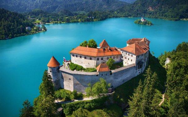 Hecho por el hombre Bled Castle Castillo Eslovenia Lake Bled Lago Turquesa Paisaje Bosque Montaña Fondo de pantalla HD | Fondo de Escritorio