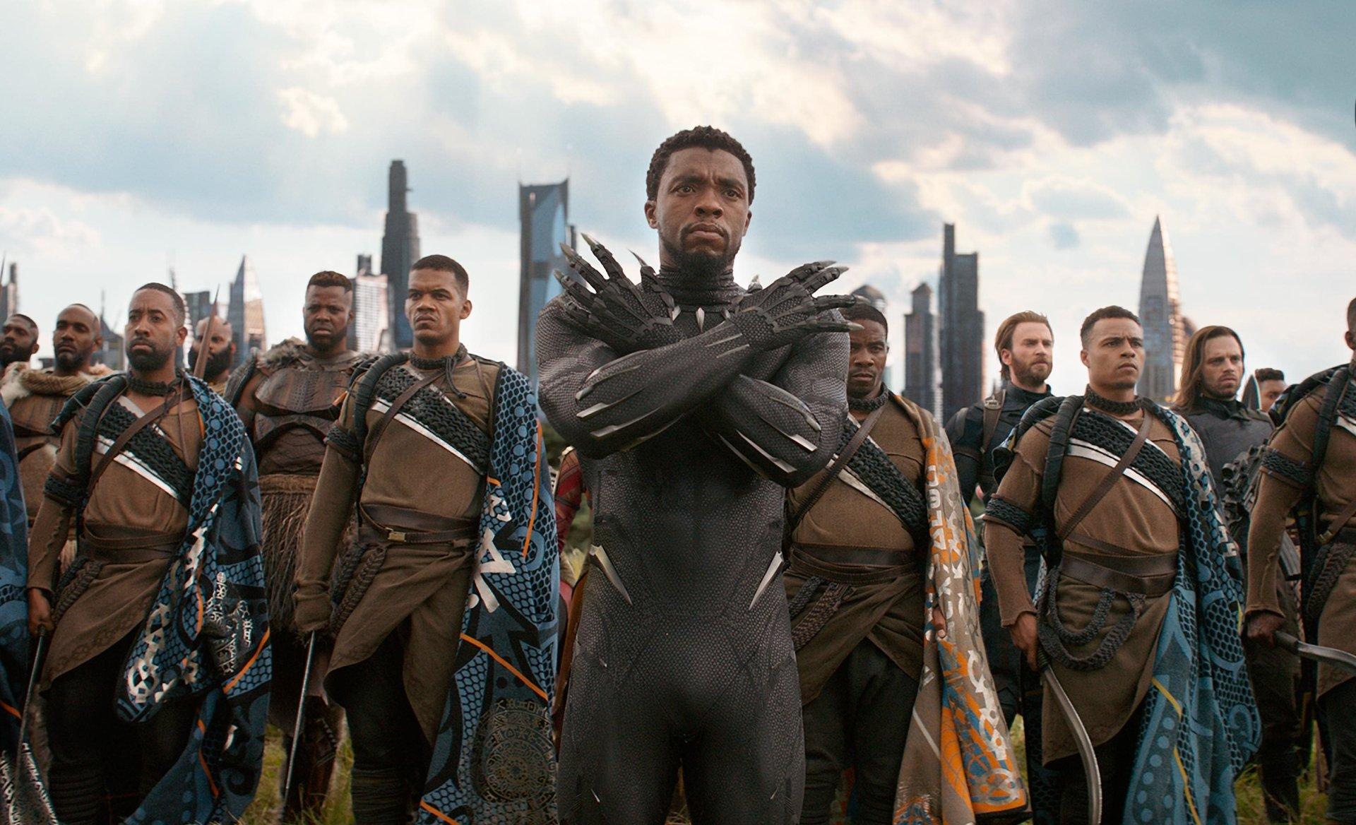 Movie - Avengers: Infinity War  Black Panther (Marvel Comics) Chadwick Boseman M'Baku (Marvel Comics) Winston Duke Captain America Winter Soldier Chris Evans Sebastian Stan Wallpaper