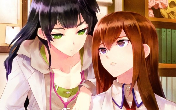 Anime Steins;Gate Kurisu Makise Maho Hiyajo Long Hair Brown Hair Black Hair Green Eyes Purple Eyes HD Wallpaper | Background Image