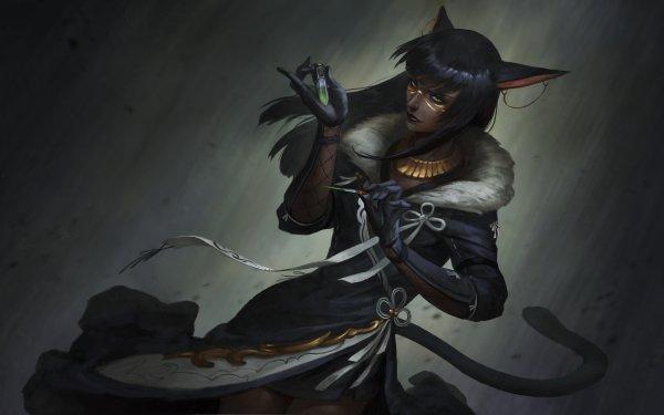Fantasy Women Woman Animal Ears Black Hair Yellow Eyes HD Wallpaper   Background Image