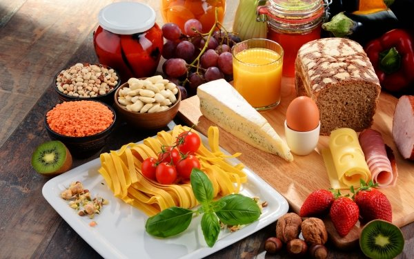 Food Still Life Pasta Cheese Fruit Bread HD Wallpaper | Background Image