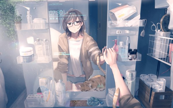 Anime Original Bathroom Mirror Cat Glasses Short Hair Brown Hair Brown Eyes Toothbrush HD Wallpaper | Background Image
