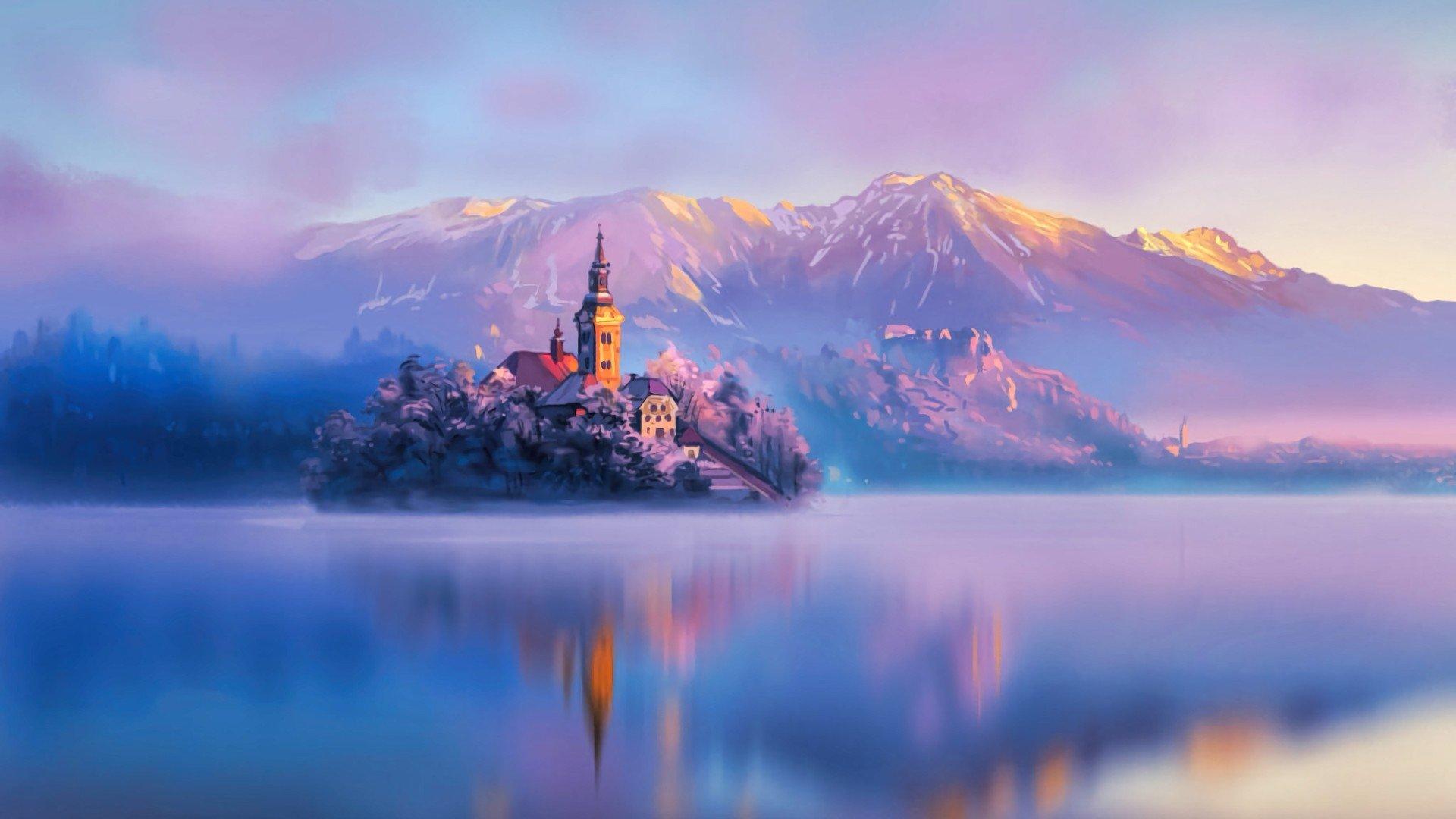 Religious - Assumption of Mary Church  Cloud Fog Mountain Slovenia Sunrise Winter Lake Artistic Wallpaper
