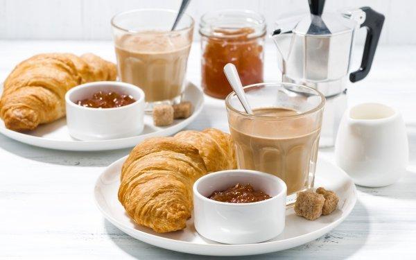 Food Breakfast Coffee Croissant Viennoiserie HD Wallpaper   Background Image