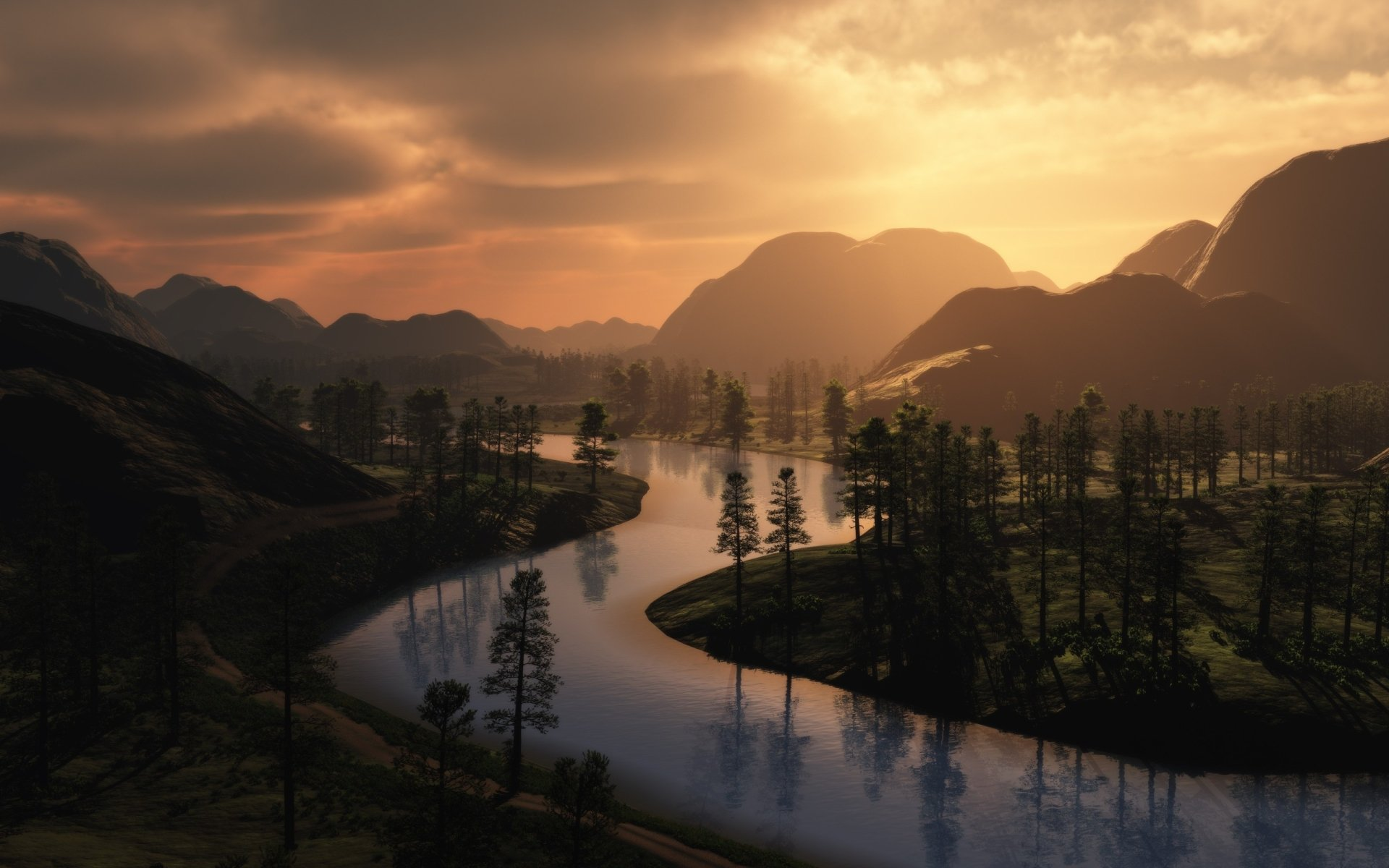 CGI - Natuur  Valley Boom Rivier Water Berg Wallpaper