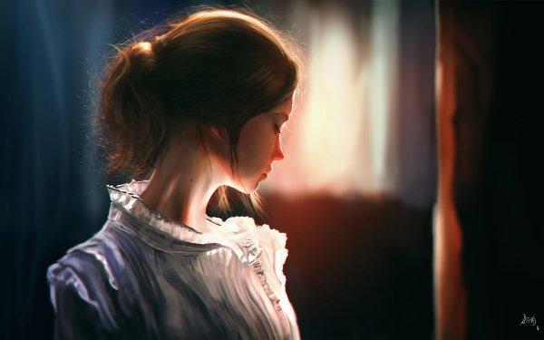 Women Artistic Woman Brown Hair Mood HD Wallpaper | Background Image