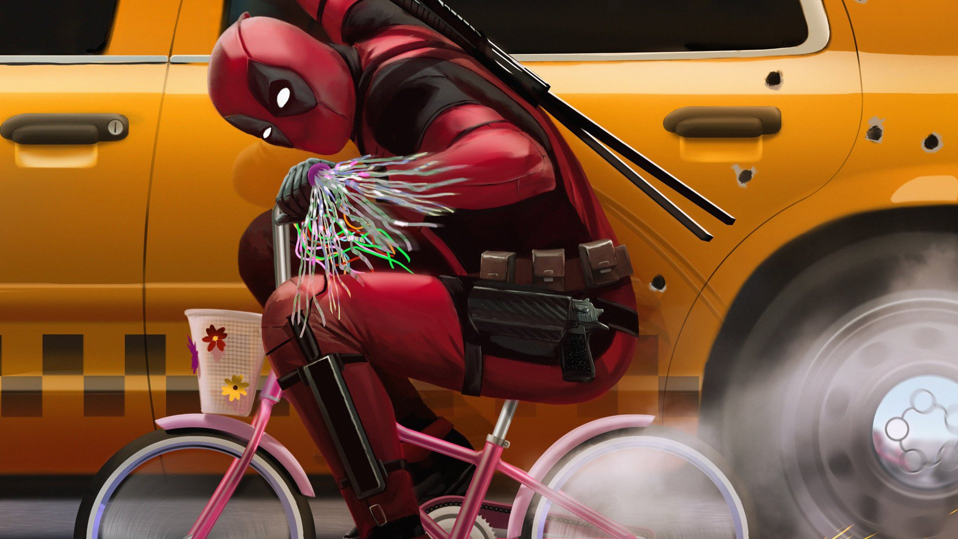 Film - Deadpool 2  Cycle Taxi Duvarkağıdı
