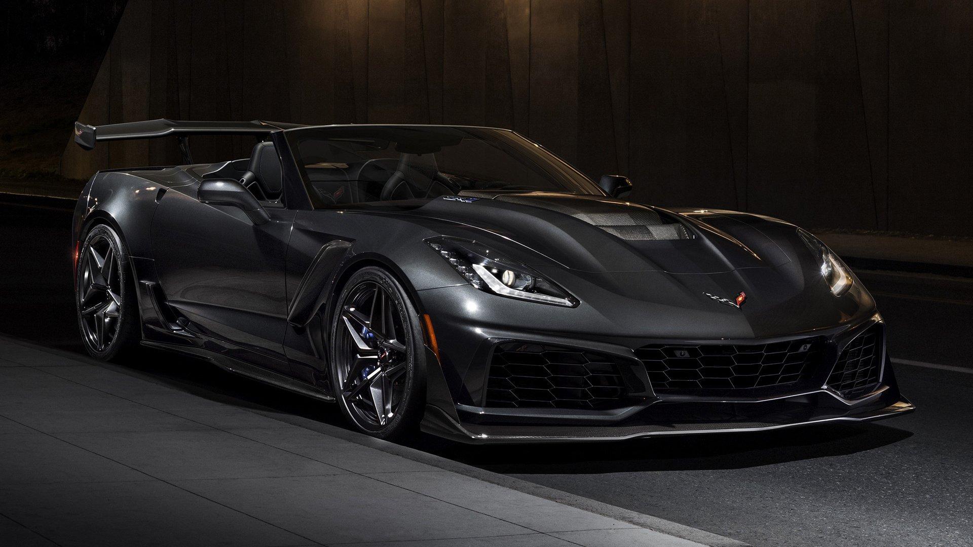 Vehicles - Chevrolet Corvette ZR1  Sport Car Convertible Black Car Car Supercar Wallpaper