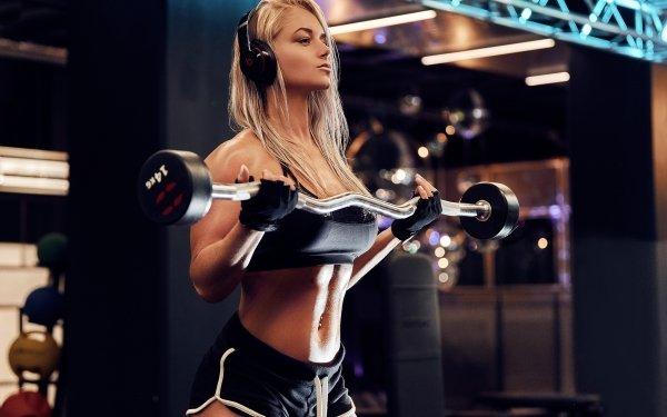 Women Weightlifting Fitness Blonde Headphones HD Wallpaper   Background Image