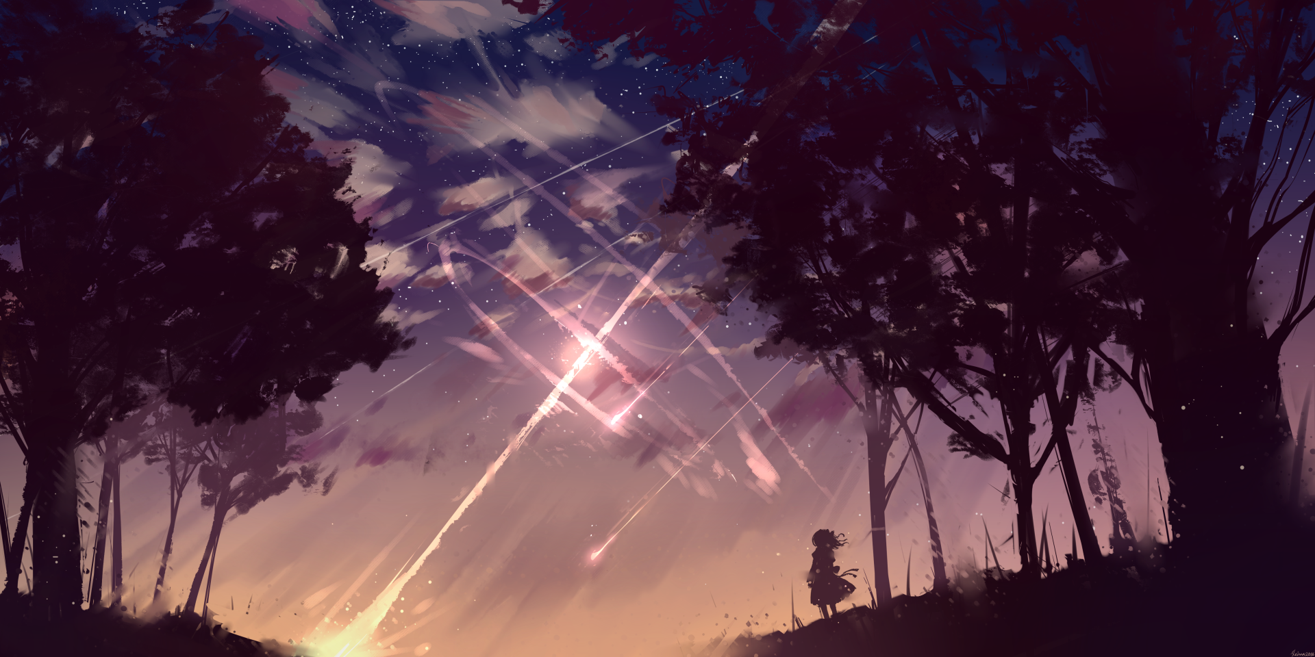 Anime - Original  Shooting Star Forest Long Hair bow (Clothing) Wallpaper