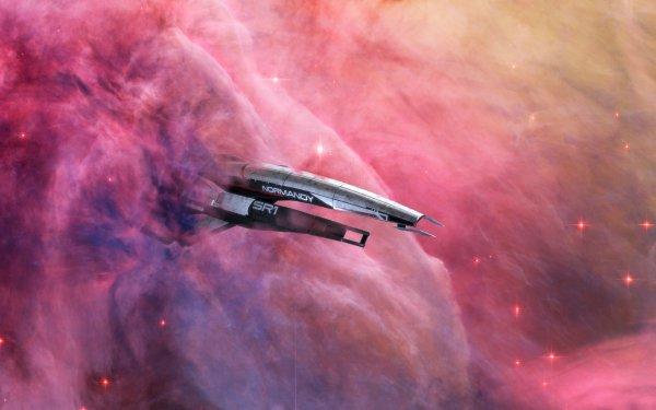Video Game Mass Effect Space Normandy SR-1 Nebula HD Wallpaper | Background Image